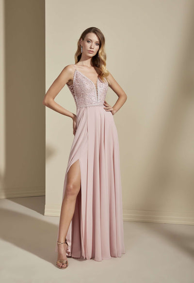 Chiffon and Lace Bridesmaid Dress with Slit - Jana Ann Bridal
