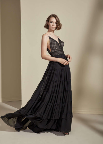 Chiffon and Lace Formal Dress with Plunge