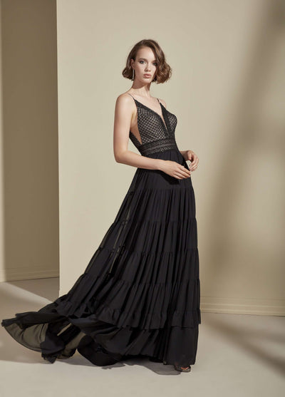 Chiffon and Lace Prom Dress with Plunge