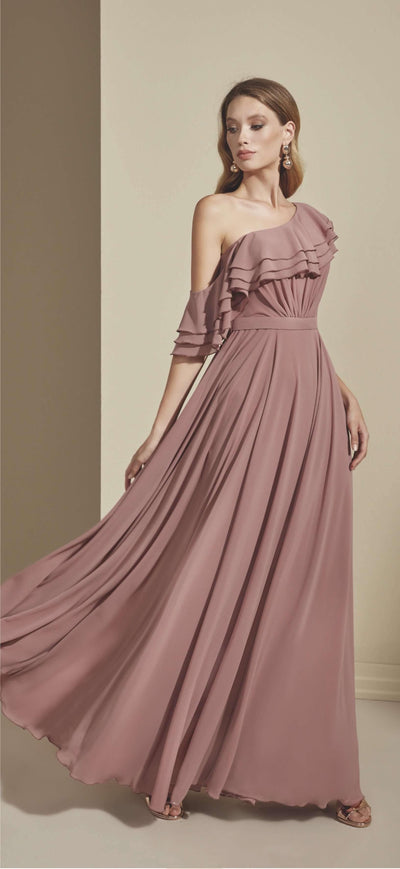 Chiffon Asymmetric Off Shoulder Bridesmaid Dress - Jana Ann Couture