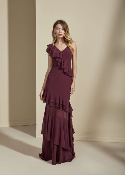 Chiffon Bridesmaid Dress with Asymmetric Neckline - Jana Ann Bridal