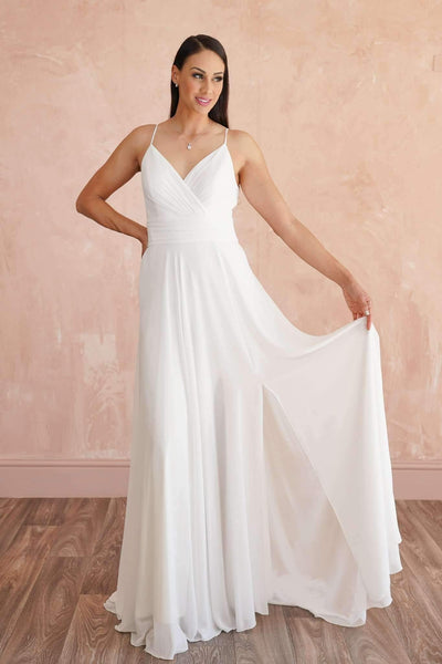 Chiffon Elegant Beach Wedding Dress with Plunging V-Neck - Jana Ann Couture