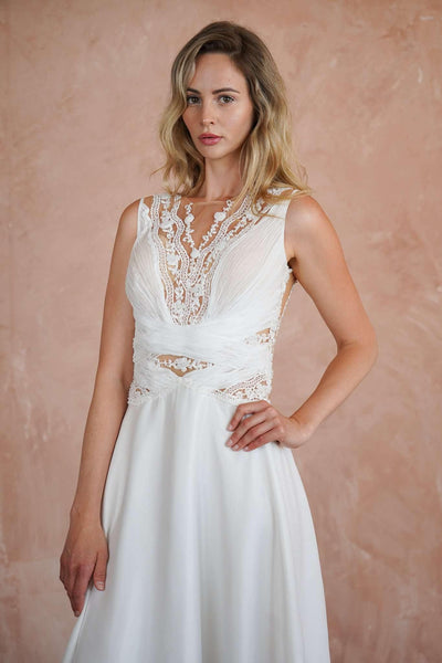 Chiffon Lace Custom Casual Wedding Dress with Illusion Neckline - Jana Ann Couture