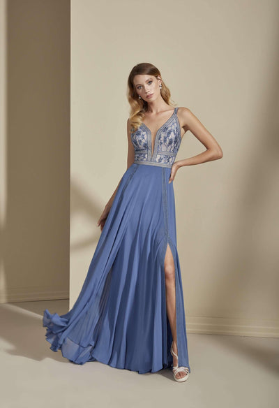 Chiffon Lace Formal Dress with Plunge