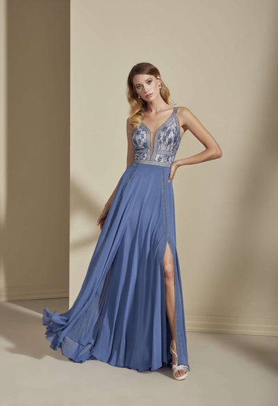 Chiffon Lace Prom Dress with Plunge