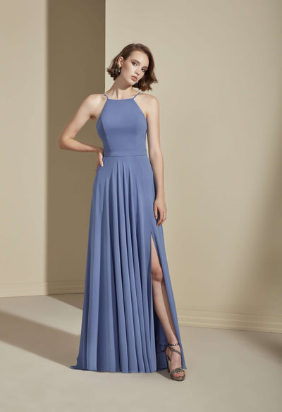 Chiffon Low Back Bridesmaid Dress with Halter Neckline - Jana Ann Bridal
