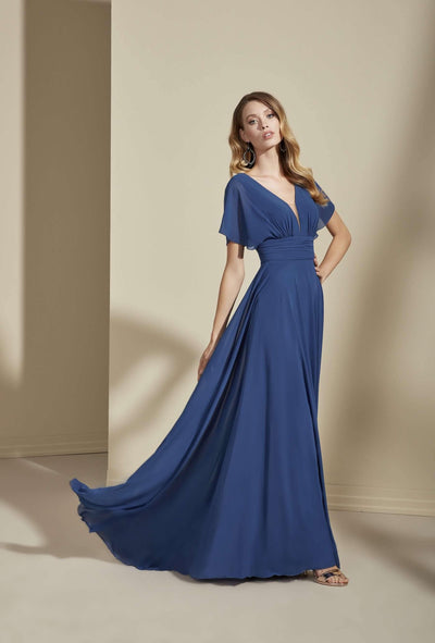 Chiffon Plunging V-Neck Formal Dress with Butterfly Sleeve - Jana Ann Couture