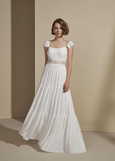 Chiffon Simple Wedding Dress with Tiered Skirt - Jana Ann Couture