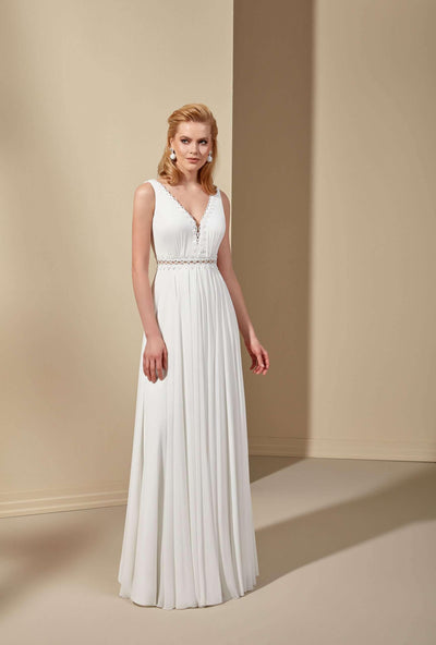 Chiffon Sleeveless Beach Wedding Dress - Jana Ann Couture