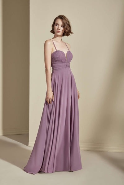 Chiffon Sweetheart Bridesmaid Dress with Plunge