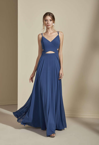 Chiffon V-Neck A-Line Bridesmaid Dress - Jana Ann Couture