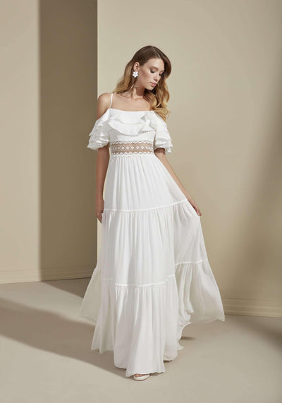 Chiffon Vintage Beach Wedding Dress with Off the Shoulder Straps - Jana Ann Couture