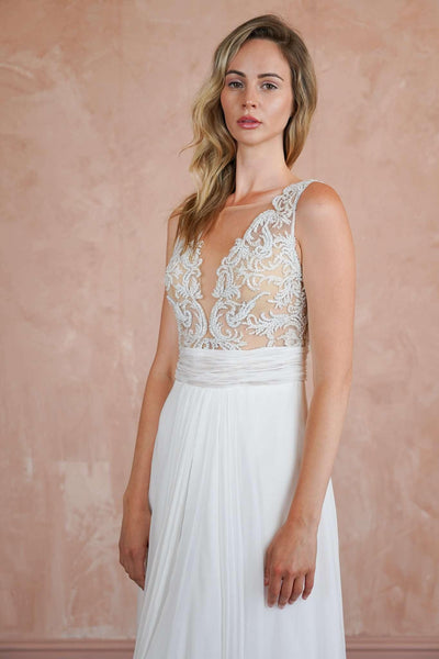 Couture Plunging V-Neck Chiffon Beach Wedding Dress with Lace Appliques - Jana Ann Couture
