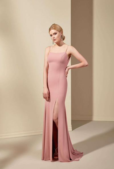 Crepe Low V-Back Mermaid Bridesmaid Dress with Slit