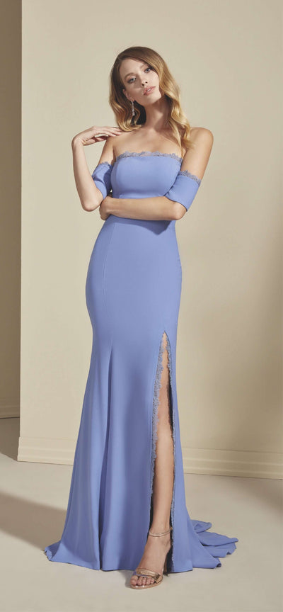 Crepe Mermaid Bridesmaid Dress with High Slit - Jana Ann Bridal