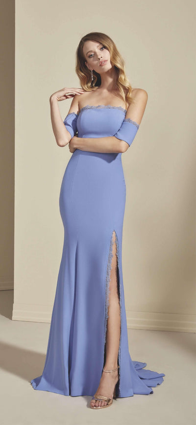 Crepe Mermaid Formal Dress with High Slit