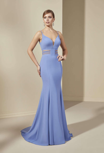 Crepe Mermaid Formal Dress with V-Neck Plunge - Jana Ann Couture