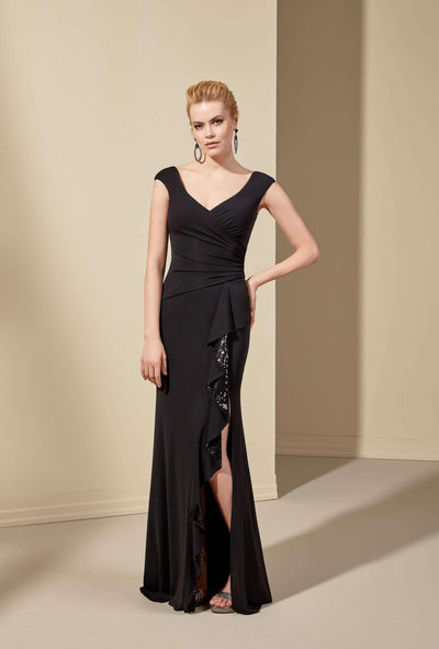Crepe Sheath Mother of the Bride Dress with Slit - Jana Ann Couture