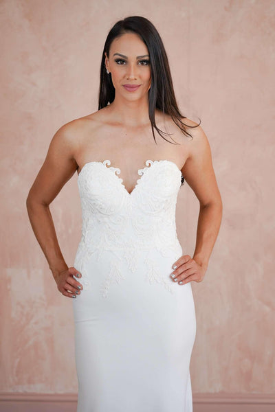 Crepe Sweetheart Strapless Lace Couture Wedding Dress with See Through Back - Jana Ann Couture
