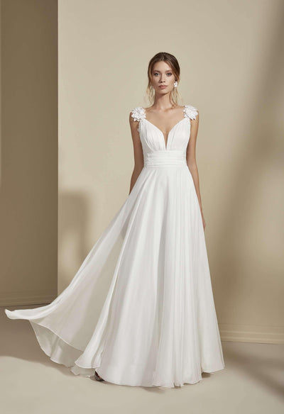 Elegant Beach Wedding Dress with Plunging V-Neck