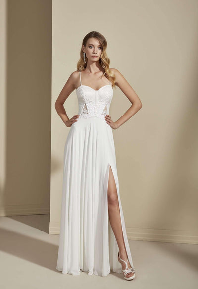 Elegant Simple Beach Wedding Dress with Slit and Sweetheart - Jana Ann Couture
