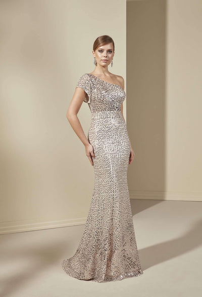 Fit and Flare Sequined Formal Dress
