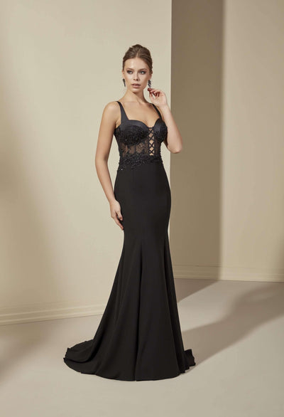 French Chantilly Lace Bridesmaid Dress with Plunge and Open Back