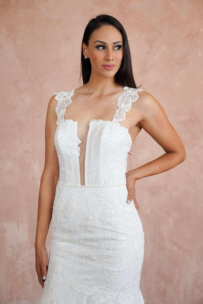 French Chantilly Lace Straight Couture Wedding Dress with Plunge - Jana Ann Couture
