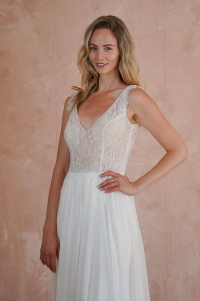 French Chiffon Custom Beach Wedding Dress with Beaded Chantilly Lace - Jana Ann Couture