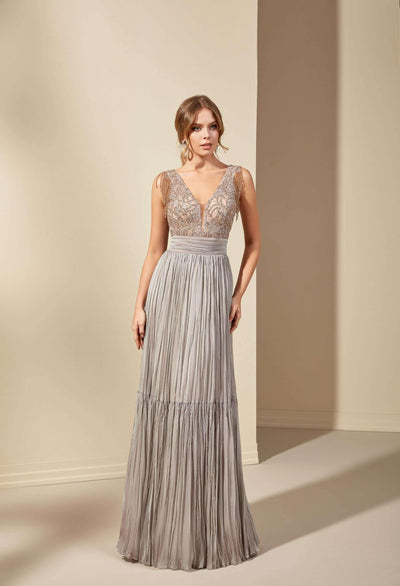 French Chiffon Formal Dress with Beaded Lace