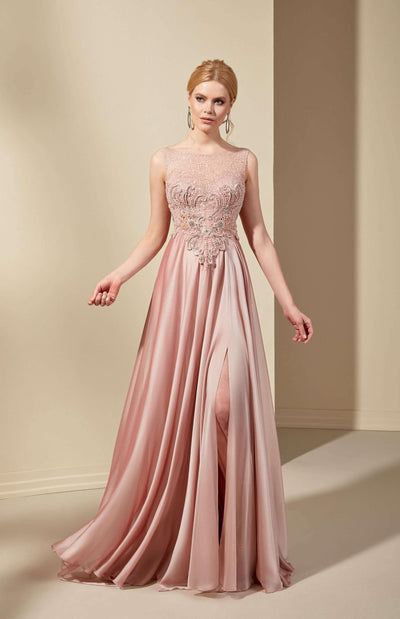 French Chiffon Formal Dress with Illusion Neckline - Jana Ann Couture