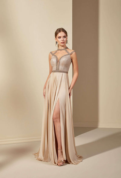 French Chiffon Prom Dress with High Slit