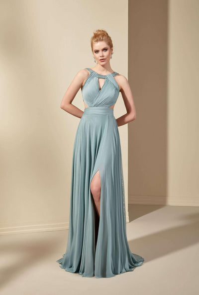 Halter Chiffon A-Line Formal Dress - Jana Ann Couture