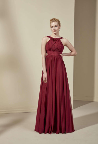 Halter Chiffon Empire Bridesmaid Dress with A-Line Skirt - Jana Ann Couture