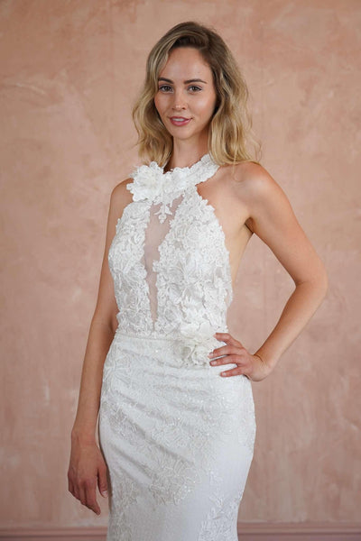 Halter High Neck Lace Custom Wedding Dress with Sheer Plunge - Jana Ann Couture