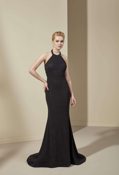 Halter Low Back Formal Dress with Fukuro Fabric - Jana Ann Couture