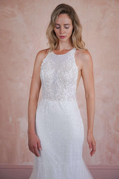 Halter Mermaid Couture Wedding Dress with Sequined Sparkly Lace and Lace Appliques - Jana Ann Couture