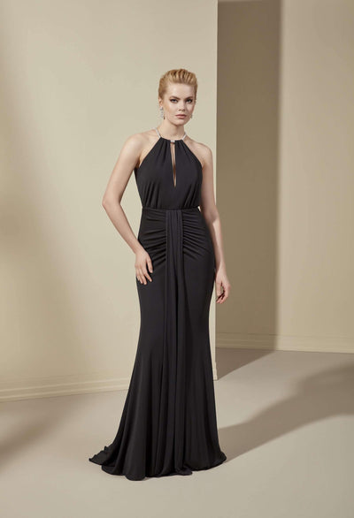Halter Mermaid Formal Dress with Plunge - Jana Ann Couture