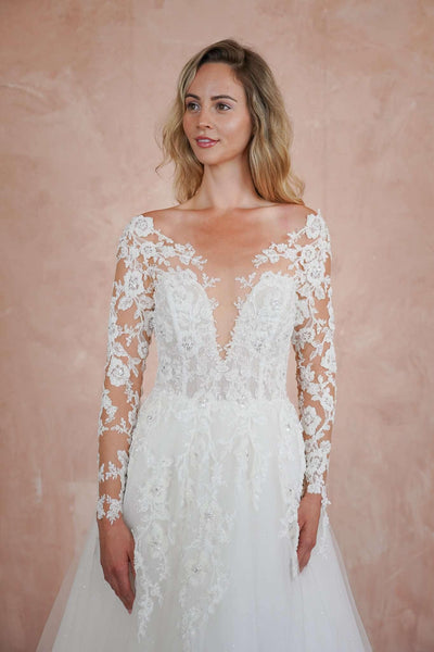 Lace A-Line Custom Wedding Dress with Plunging V-Neck - Jana Ann Couture