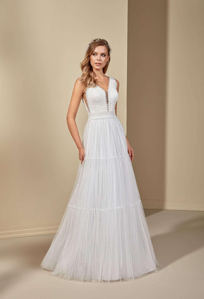 Lace Beach Wedding Dress with Plunging Sweetheart