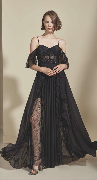 Lace Black Formal Dress with Lace Appliques