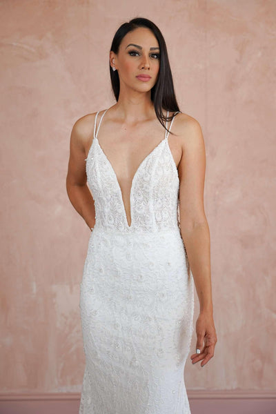 Low Back Couture Beach Wedding Dress with Plunging V-Neck - Jana Ann Couture