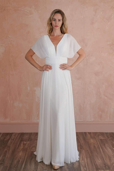 Low Back Elegant Beach Wedding Dress with Plunging V-Neck and Butterfly Sleeve - Jana Ann Couture