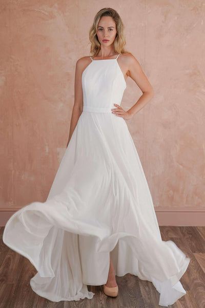 Low Back Halter Chiffon Casual Wedding Dress with Thin Straps - Jana Ann Couture