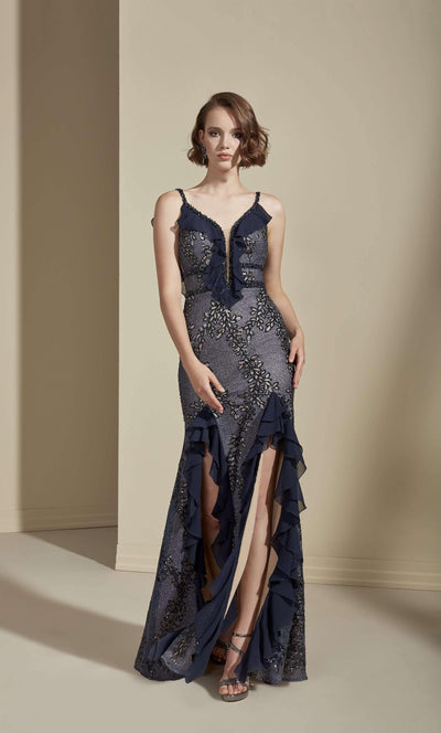 Low Back Sequined Chiffon Prom Dress with Ruffles and Slit - Jana Ann Couture