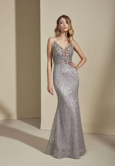 Low Back Sequined Tulle Prom Dress with Plunge - Jana Ann Couture