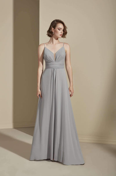 Low V-Back Chiffon Bridesmaid Dress with Plunging V-Neck - Jana Ann Couture