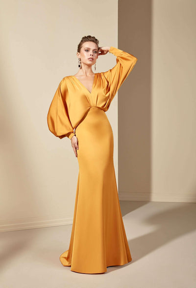 Mermaid V-Neck Mother of the Bride Dress with Low V-Back