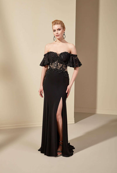Off the Shoulder Black Wedding Dress with See Through Bodice - Jana Ann Bridal