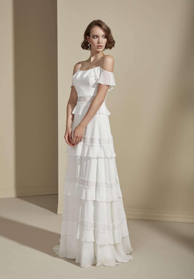 Off the Shoulder Chiffon Wedding Dress with Tiered Skirt - Jana Ann Couture